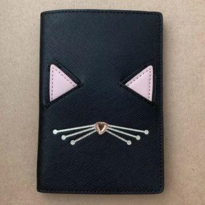 Kate Spade NWT Jazz Things Up passport holder cat